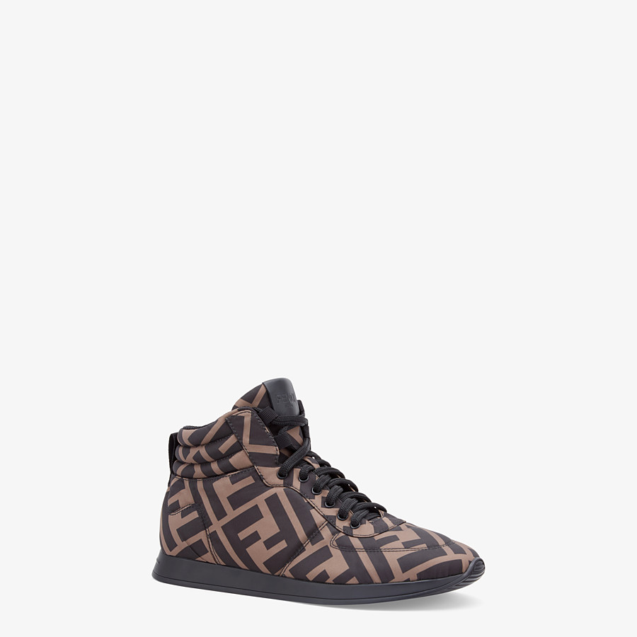 FENDI SNEAKERS - Brown nylon high-tops - view 2 detail