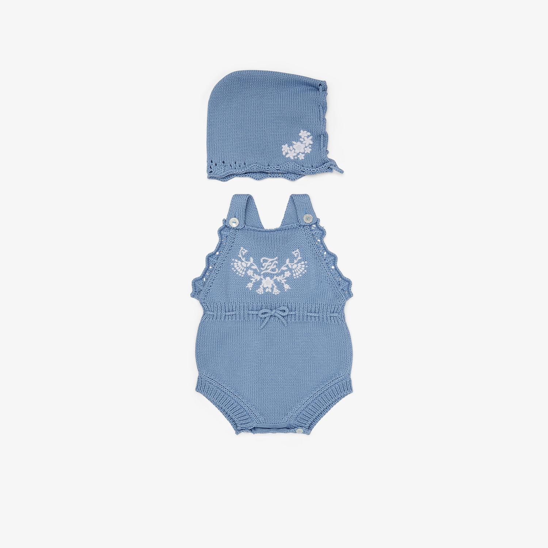 FENDI COTTON AND CASHMERE PLAYSUIT AND BONNET - Cotton and cashmere playsuit and bonnet with embroidery - view 1 detail