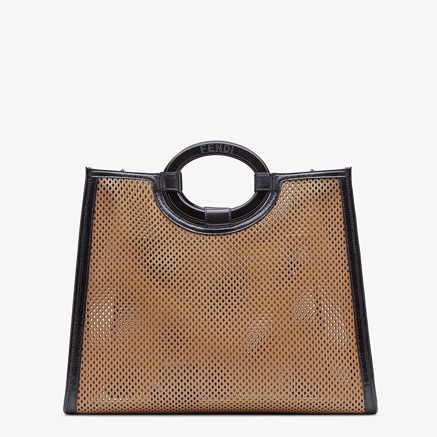FENDI RUNAWAY SHOPPER - Beige leather shopper bag - view 4 detail