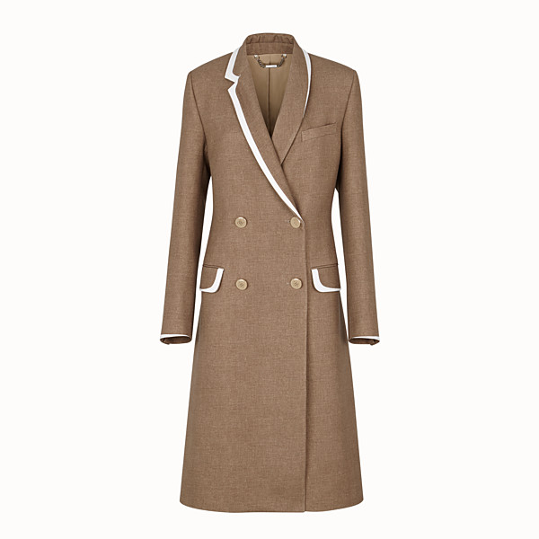 FENDI COAT - Beige silk and wool coat - view 1 small thumbnail