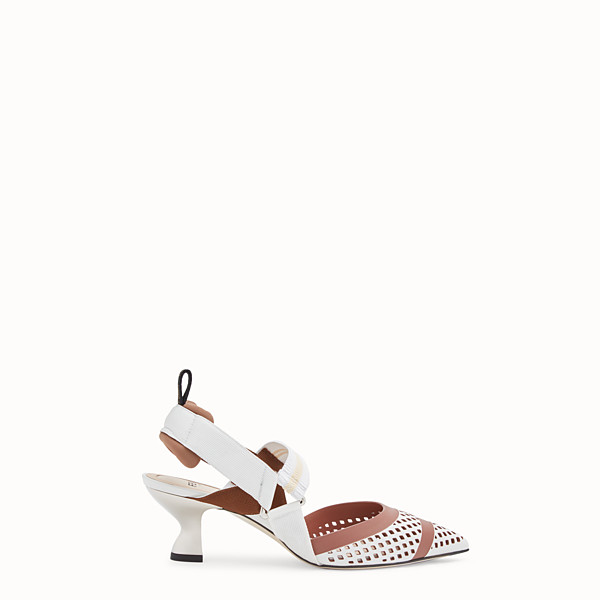FENDI SLINGBACK - Colibrì in white leather - view 1 small thumbnail