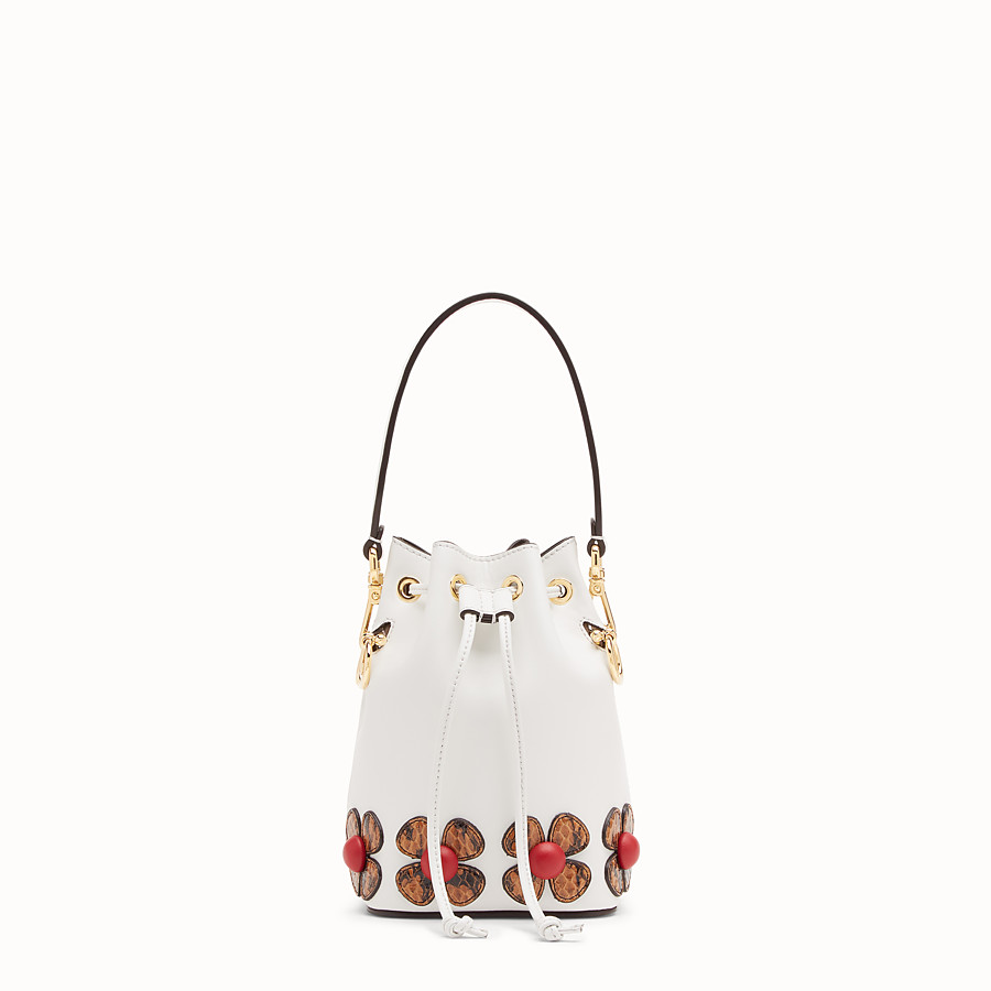 FENDI MON TRESOR - White leather mini-bag with exotic details - view 1 detail