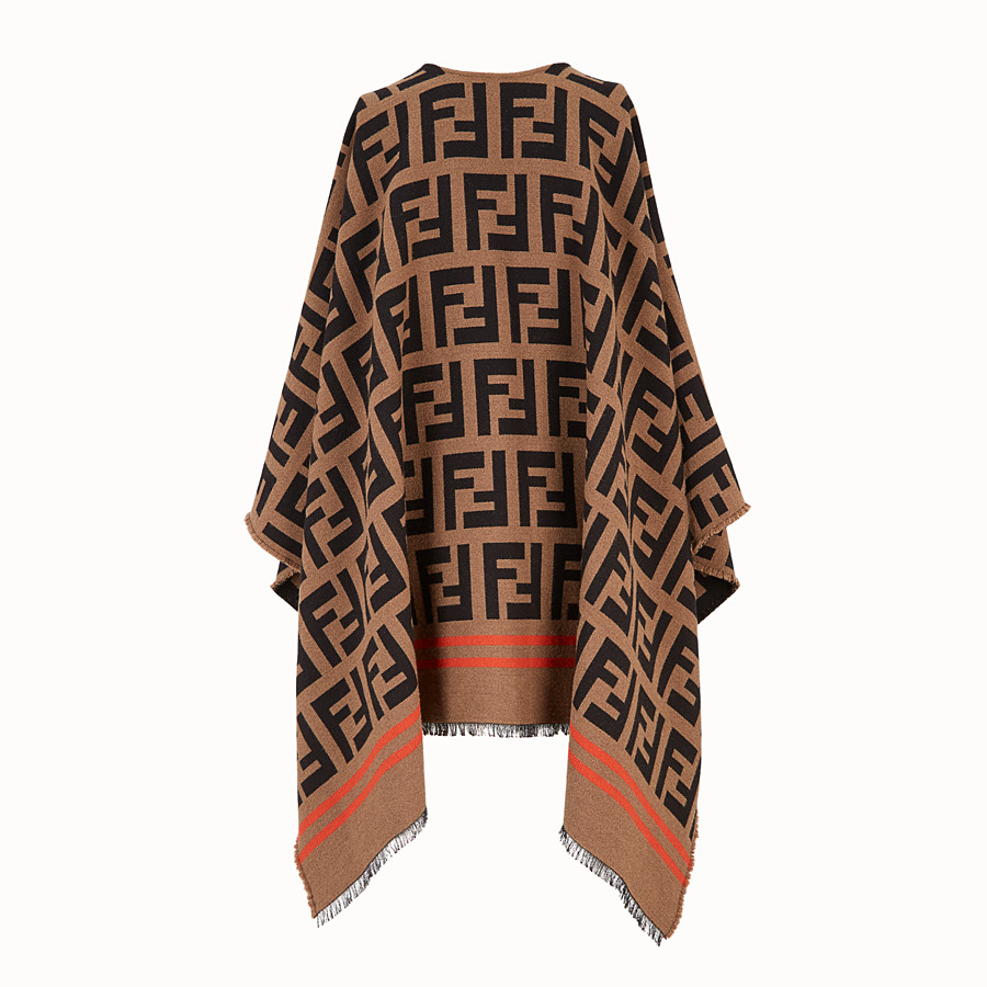 FENDI FF PONCHO - Multicolour wool and silk poncho - view 2 detail