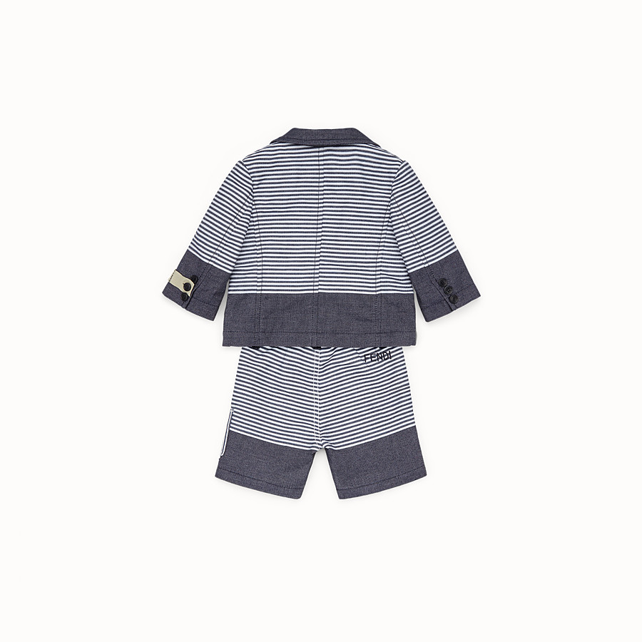 FENDI SUIT - in striped blue and white linen blend with cats graphic - view 2 detail