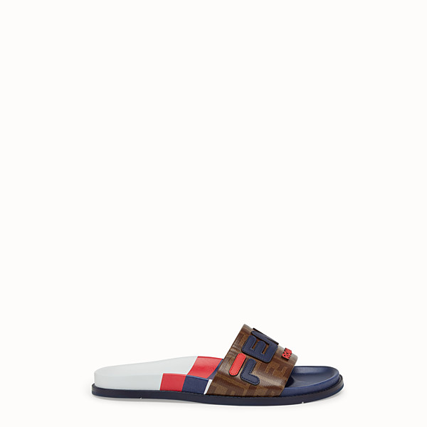 FENDI SLIDES - Multicoloured rubber Fussbet sandals - view 1 small thumbnail