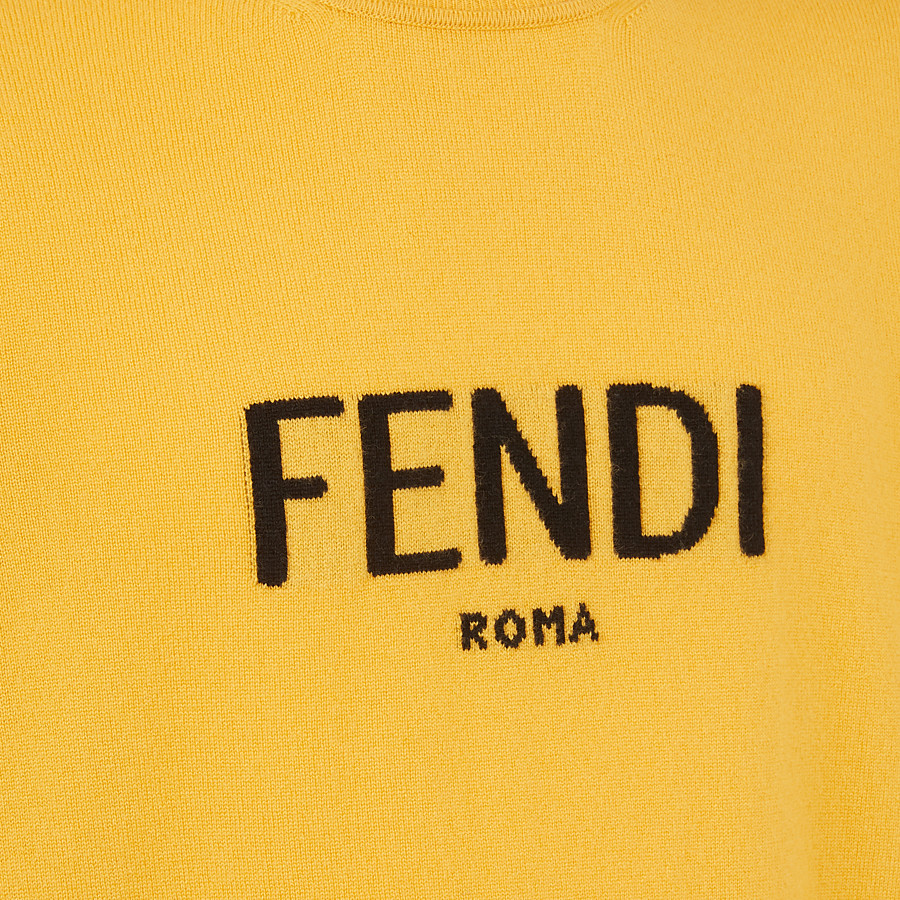 FENDI SWEATER - Yellow cashmere sweater - view 3 detail