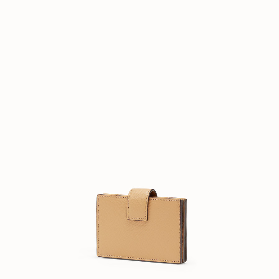 FENDI CARD HOLDER - Brown leather gusseted card holder - view 2 detail
