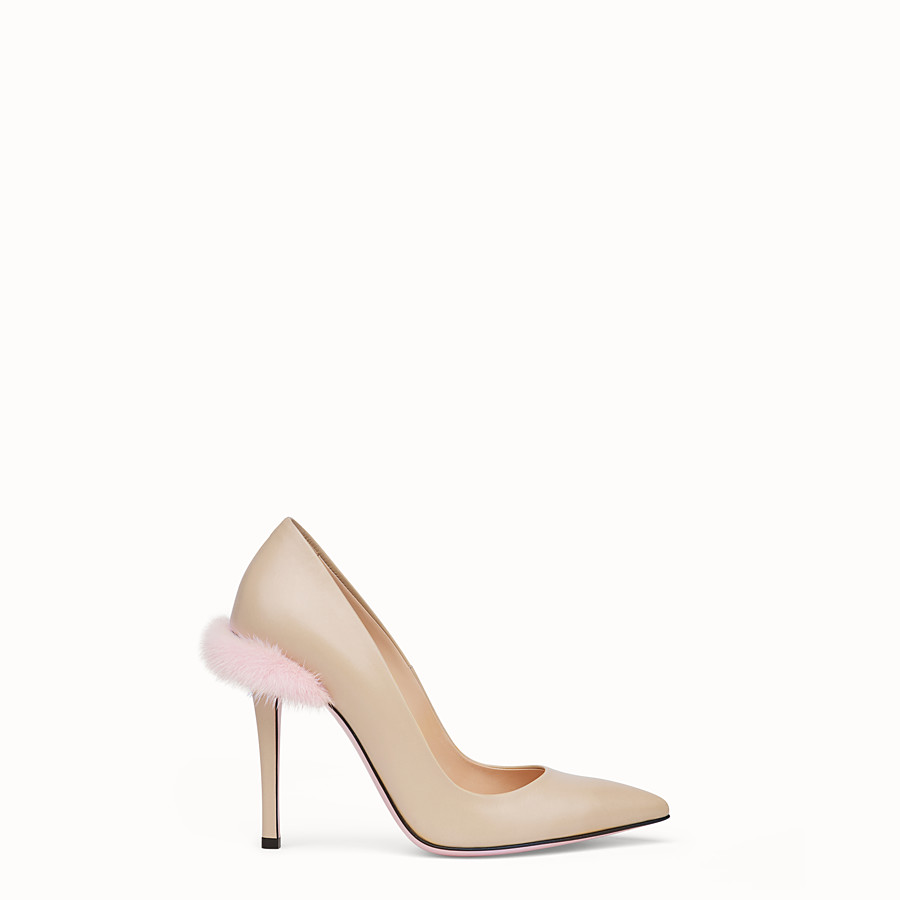 FENDI PUMPS - Beige leather court shoes - view 1 detail