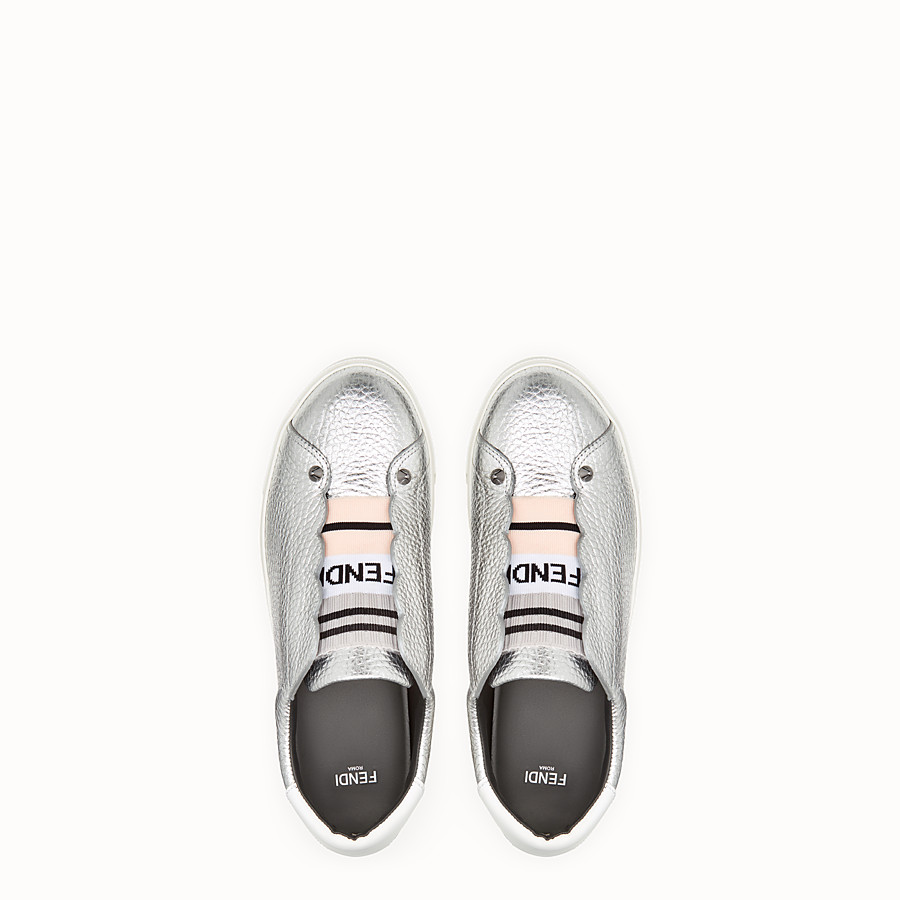 FENDI SNEAKERS - Silver leather slip-ons - view 4 detail