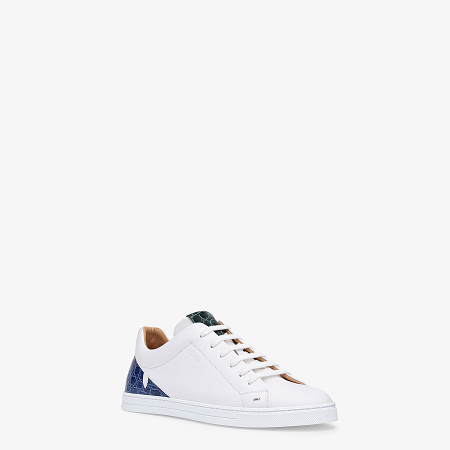 FENDI SNEAKERS - White leather low-tops with exotic details - view 2 detail
