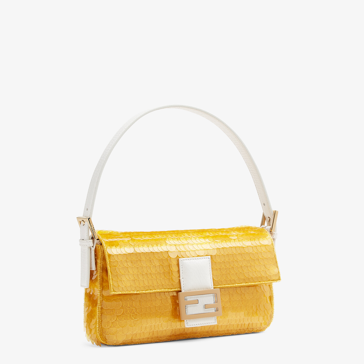 FENDI BAGUETTE 1997 - Yellow satin bag with sequins - view 3 detail