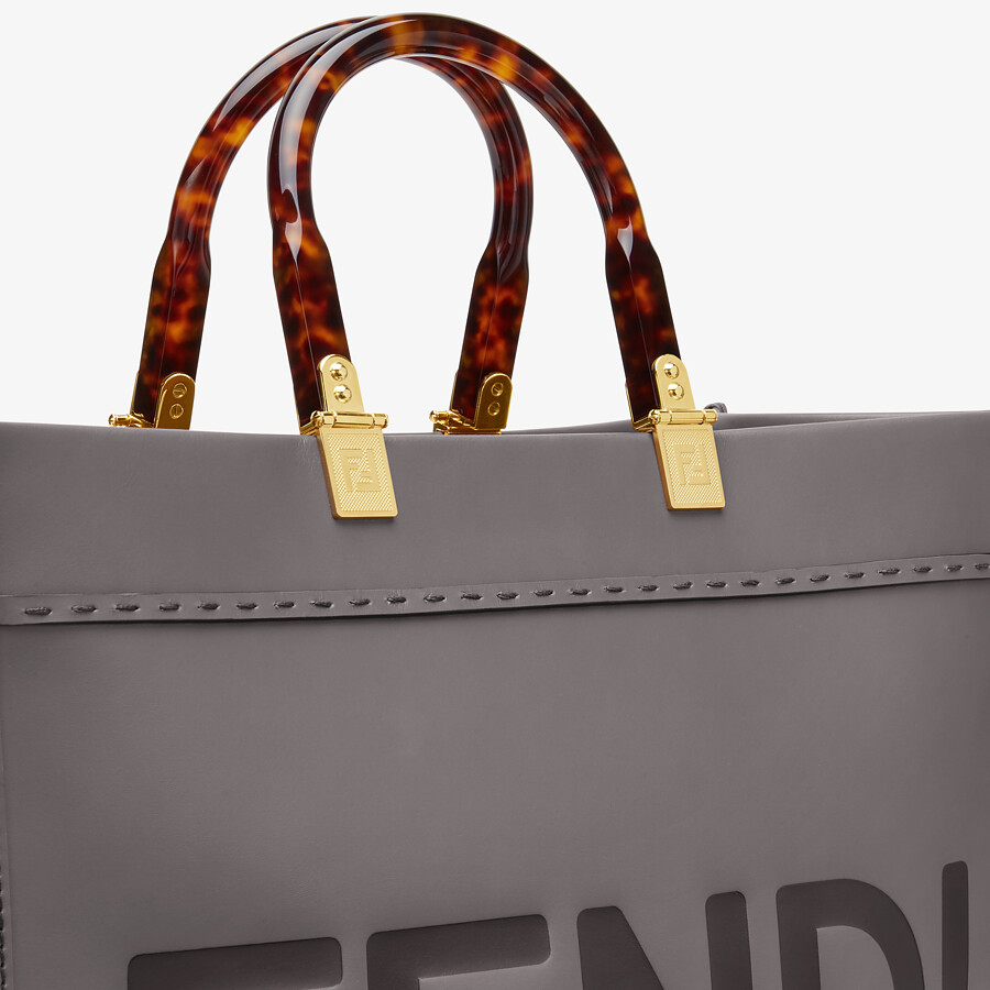 FENDI FENDI SUNSHINE MEDIUM - gray leather shopper - view 5 detail