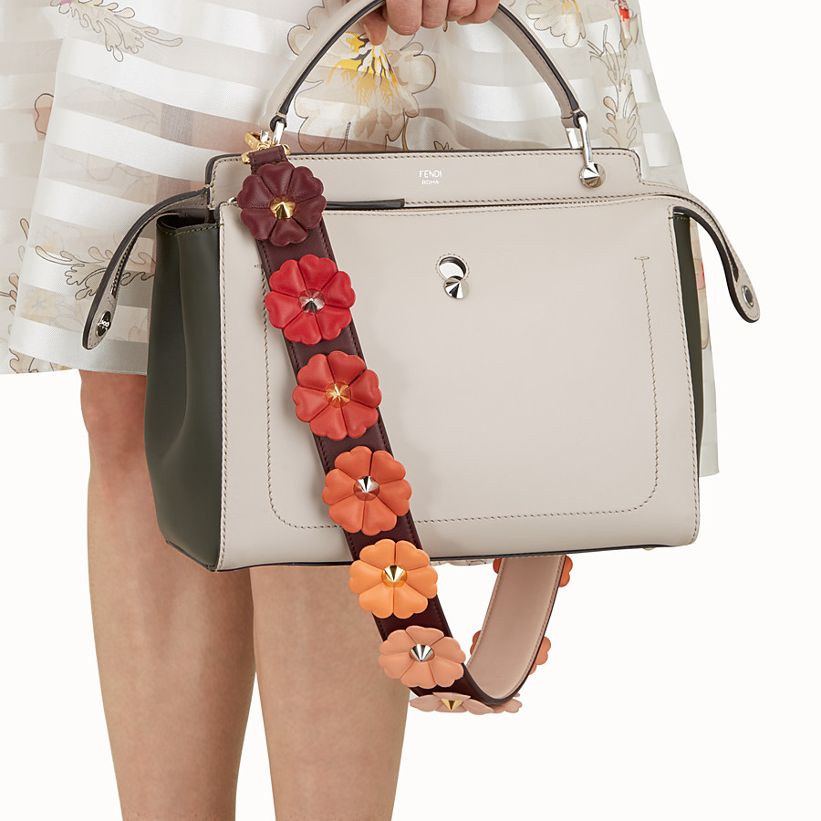 FENDI STRAP YOU - Shoulder strap in burgundy leather with flowers - view 2 detail