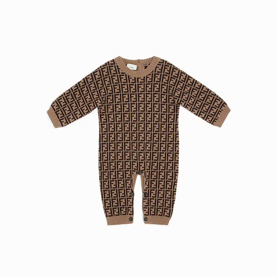 FENDI PLAYSUIT - Tobacco cotton and cashmere playsuit - view 1 detail
