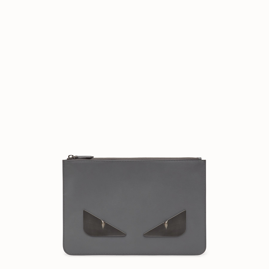 FENDI POUCH - Grey leather pochette - view 1 detail