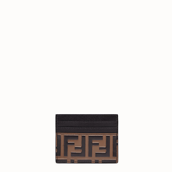 FENDI CARD HOLDER - Brown leather flat card holder - view 1 small thumbnail