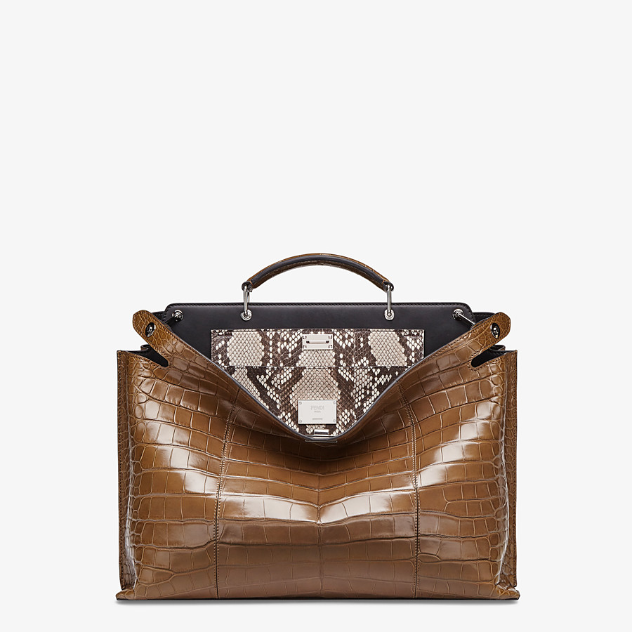 FENDI PEEKABOO ICONIC ESSENTIAL - Brown alligator leather bag - view 1 detail