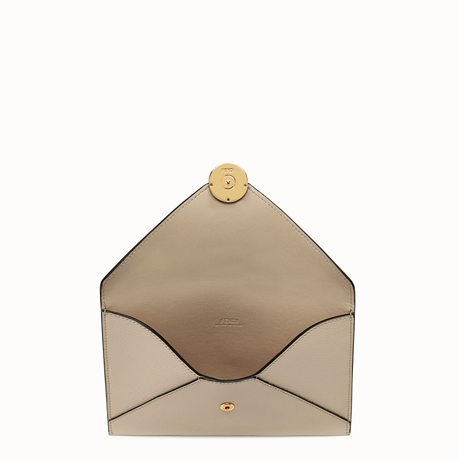FENDI MEDIUM FLAT POUCH - Beige leather pouch - view 3 detail