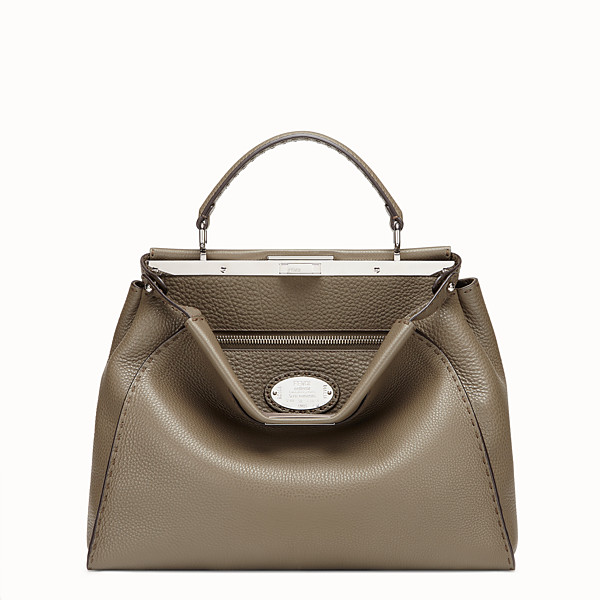FENDI PEEKABOO LARGE - Green leather bag - view 1 small thumbnail