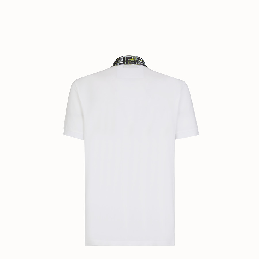 FENDI T-SHIRT - White cotton polo shirt - view 2 detail