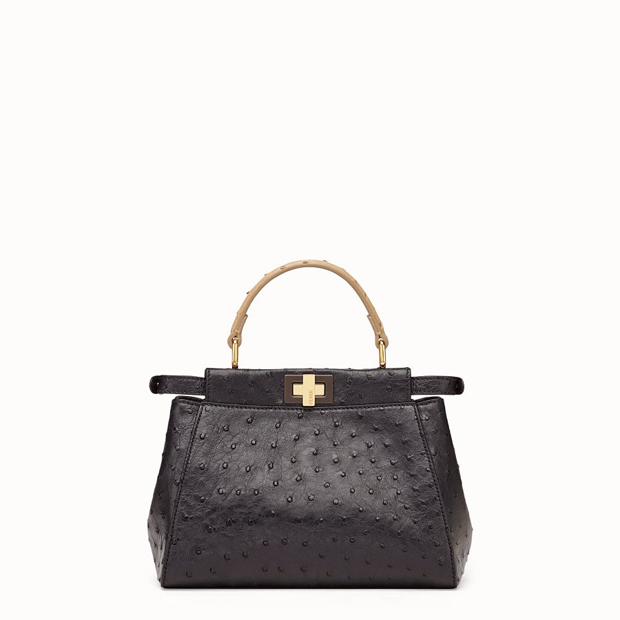 FENDI PEEKABOO MINI - Black ostrich leather bag - view 3 detail