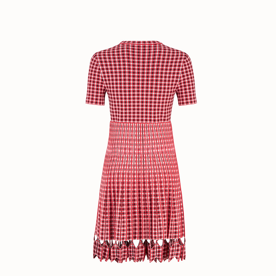 FENDI DRESS - Red checked fabric dress - view 2 detail