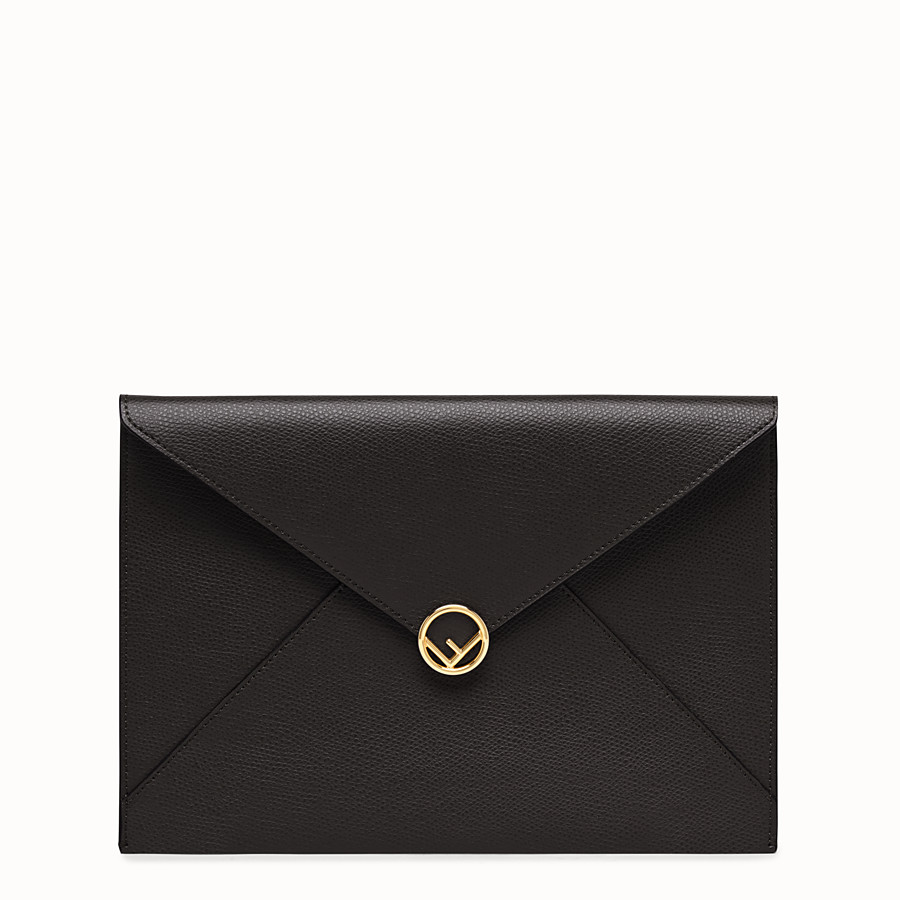 FENDI FLAT POUCH - Black leather pouch - view 1 detail