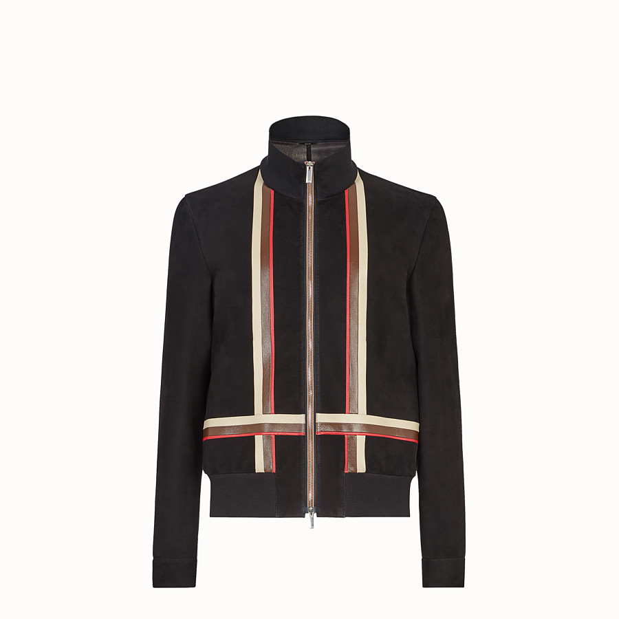 FENDI BLOUSON JACKET - Black suede leather jacket - view 1 detail