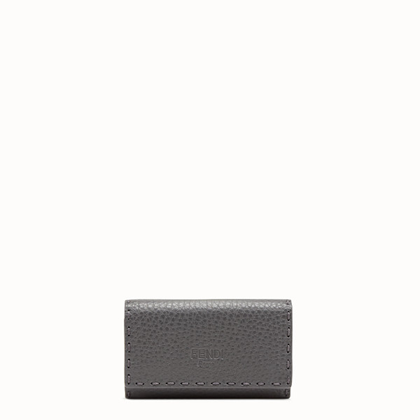 FENDI KEY RING - Grey leather key ring - view 1 small thumbnail
