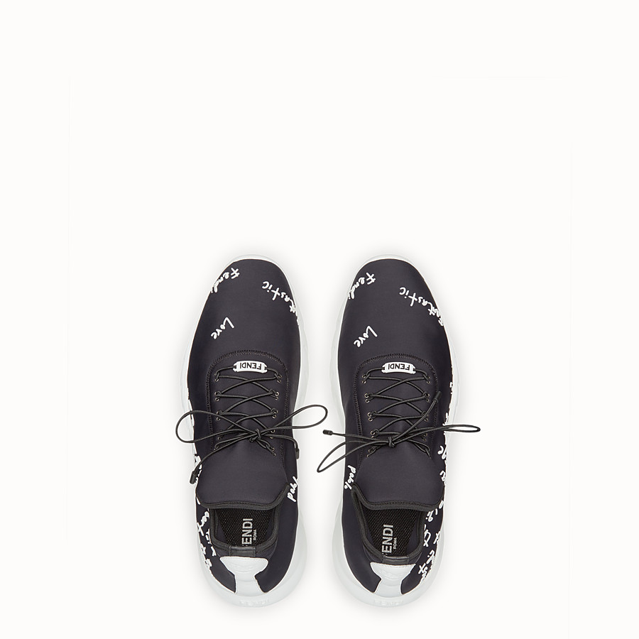 FENDI SNEAKERS - Sneakers in black technical knit fabric - view 4 detail