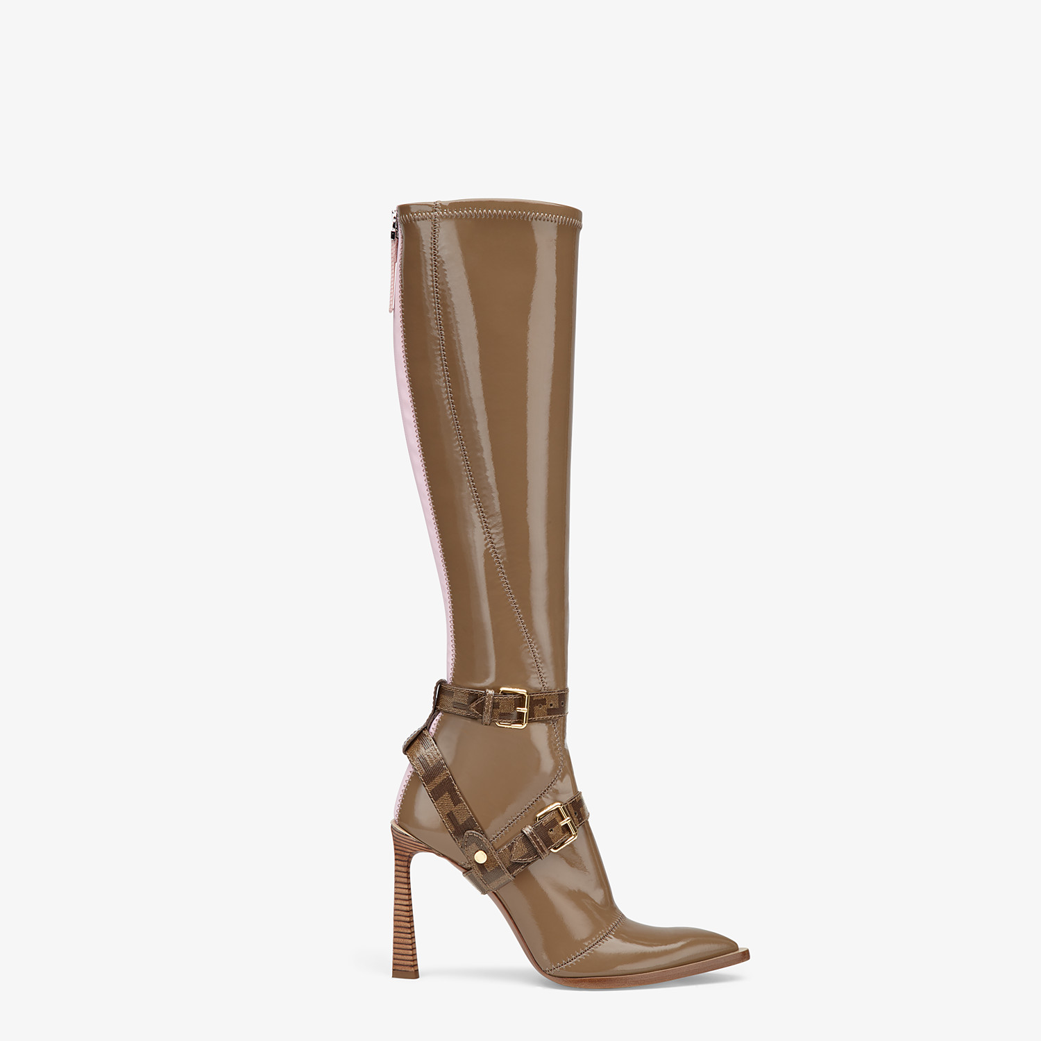 FENDI BOOTS - Glossy beige neoprene boots - view 1 detail