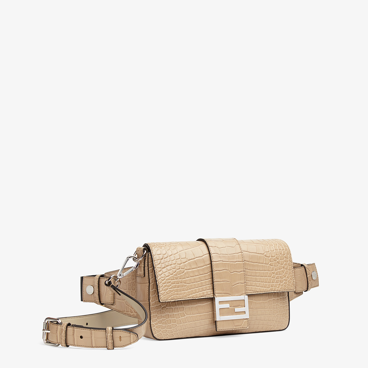 FENDI BAGUETTE - Beige alligator bag - view 2 detail