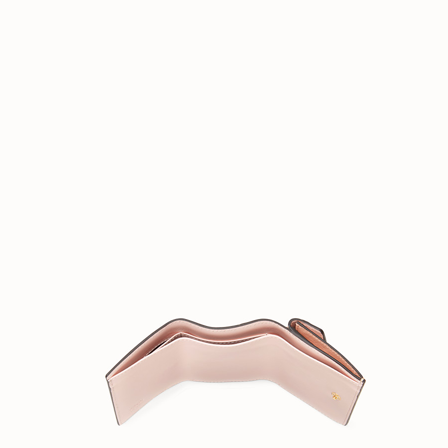 FENDI MICRO TRIFOLD - Pink ostrich leather wallet - view 4 detail