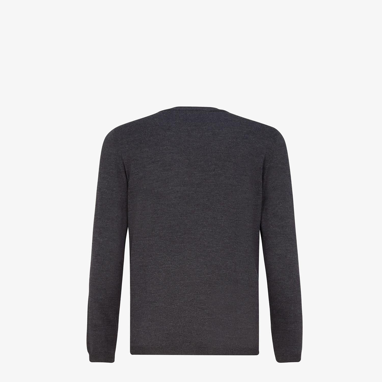 FENDI SWEATER - Gray wool round-neck sweater - view 2 detail