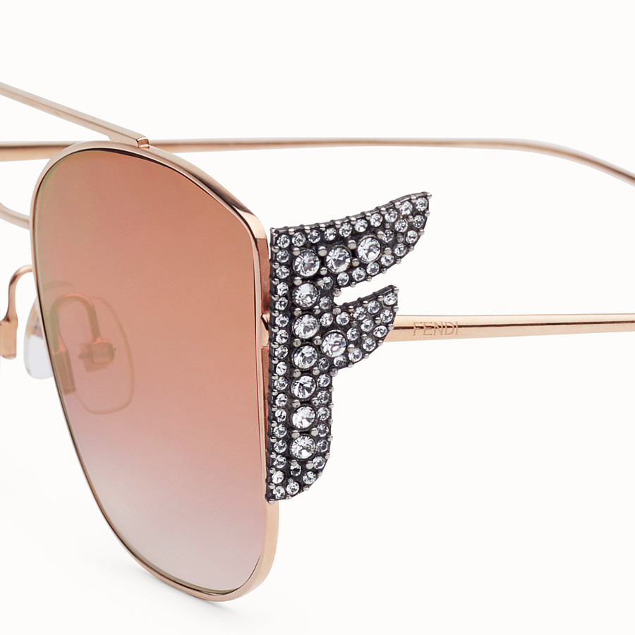 FENDI FFREEDOM - Gold-coloured sunglasses - view 3 detail