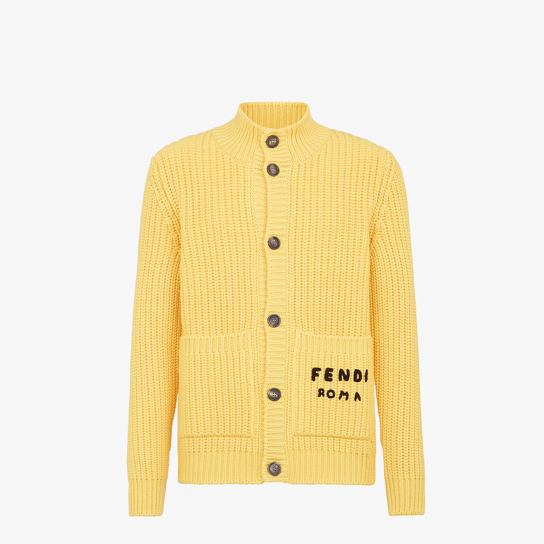 FENDI CARDIGAN - Yellow wool cardigan - view 1 detail