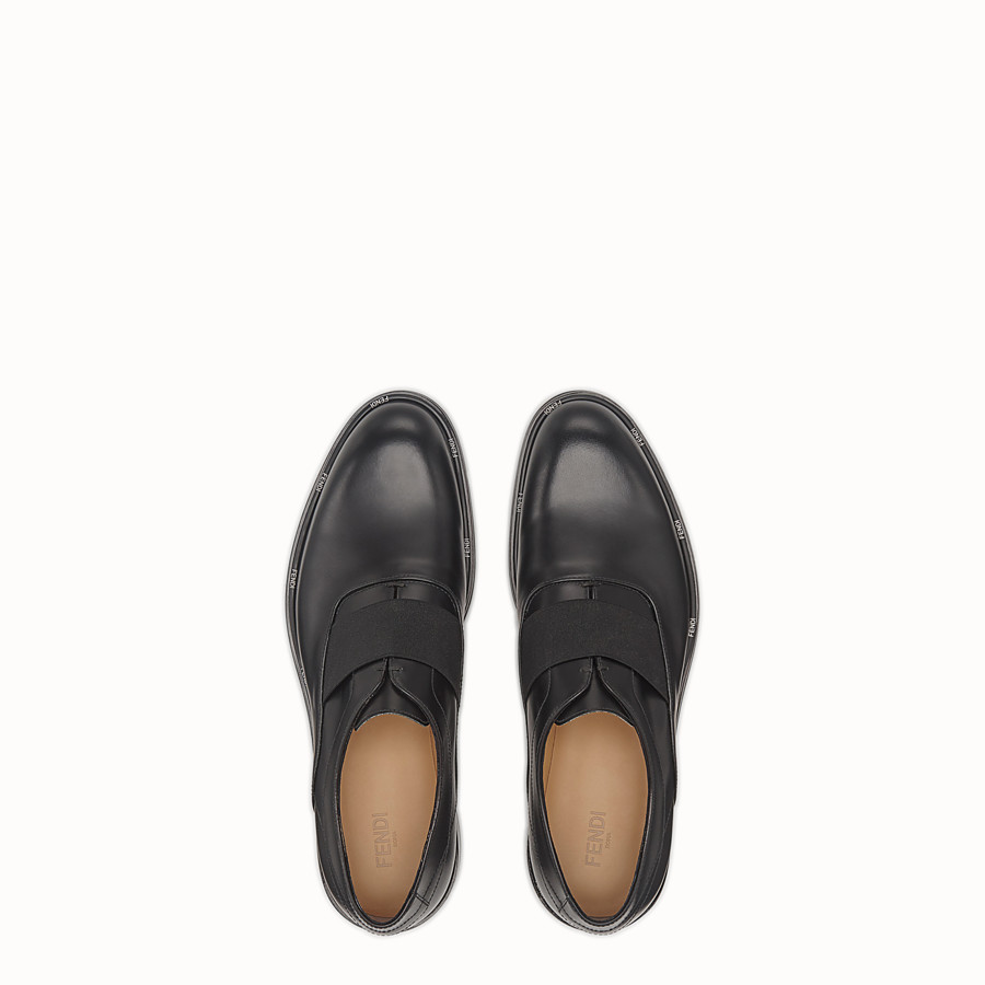 FENDI OXFORD SHOES - Black leather slip-ons - view 4 detail