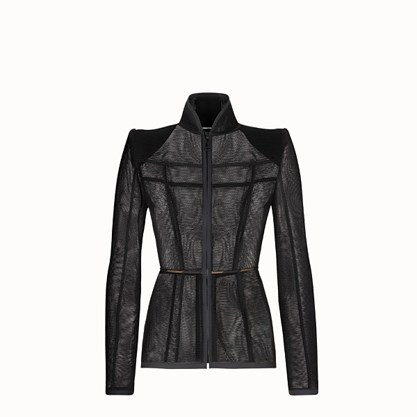 FENDI JACKET - Black micromesh jacket - view 1 small thumbnail