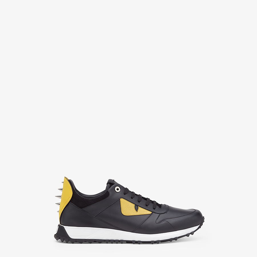 FENDI BAG BUGS SNEAKERS - Black and yellow leather lace-up - view 1 detail