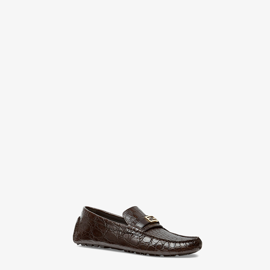 FENDI LOAFERS - Brown caiman drivers - view 2 detail