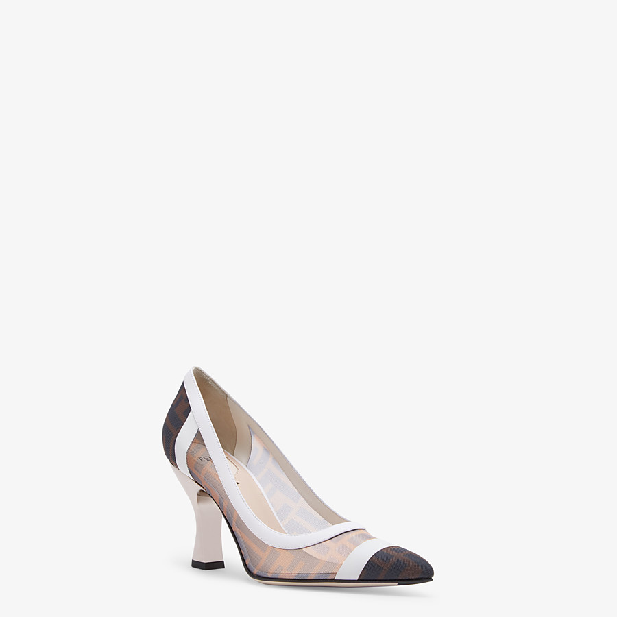 FENDI PUMPS - Mesh and white leather court shoes - view 2 detail