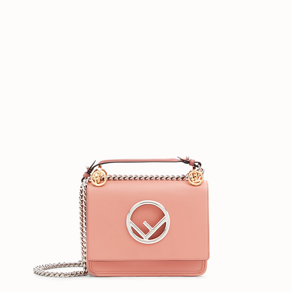 FENDI KAN I LOGO SMALL - Pink leather mini-bag - view 1 small thumbnail