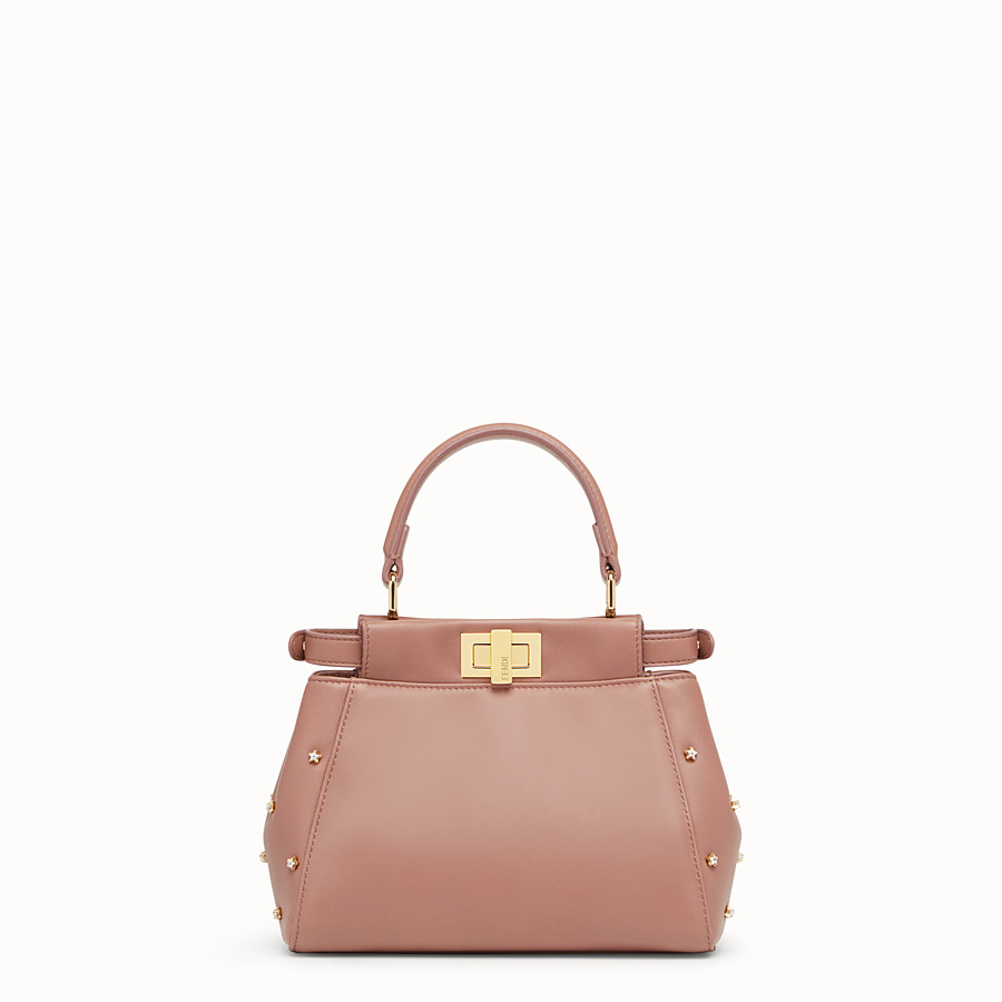 FENDI PEEKABOO ICONIC XS - Pink leather mini-bag - view 3 detail