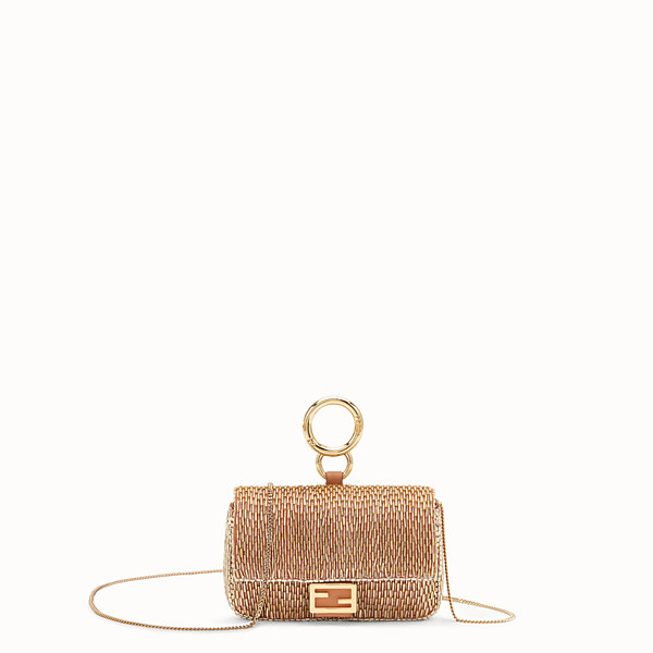 FENDI NANO BAGUETTE - Brown leather charm - view 1 small thumbnail