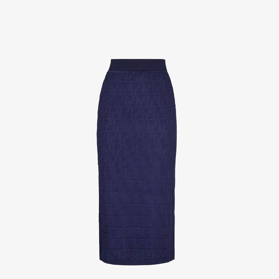 FENDI SKIRT - Blue cotton and viscose skirt - view 1 detail