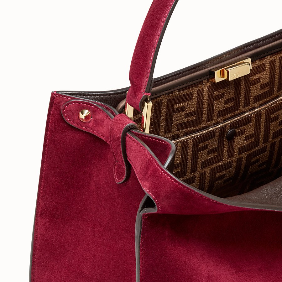FENDI PEEKABOO X-LITE - Fuchsia coloured suede bag - view 7 detail