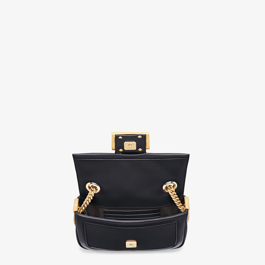 FENDI MINI BAGUETTE CHAIN - Black nappa leather bag - view 4 detail