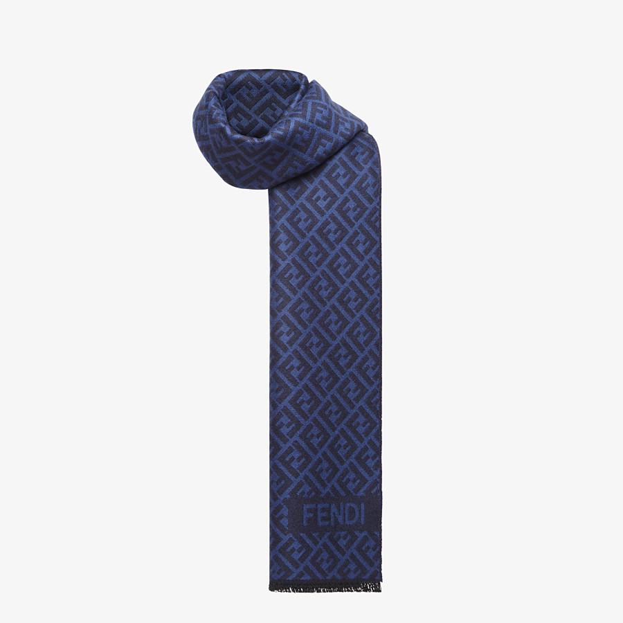FENDI SCARF - Blue wool scarf - view 2 detail