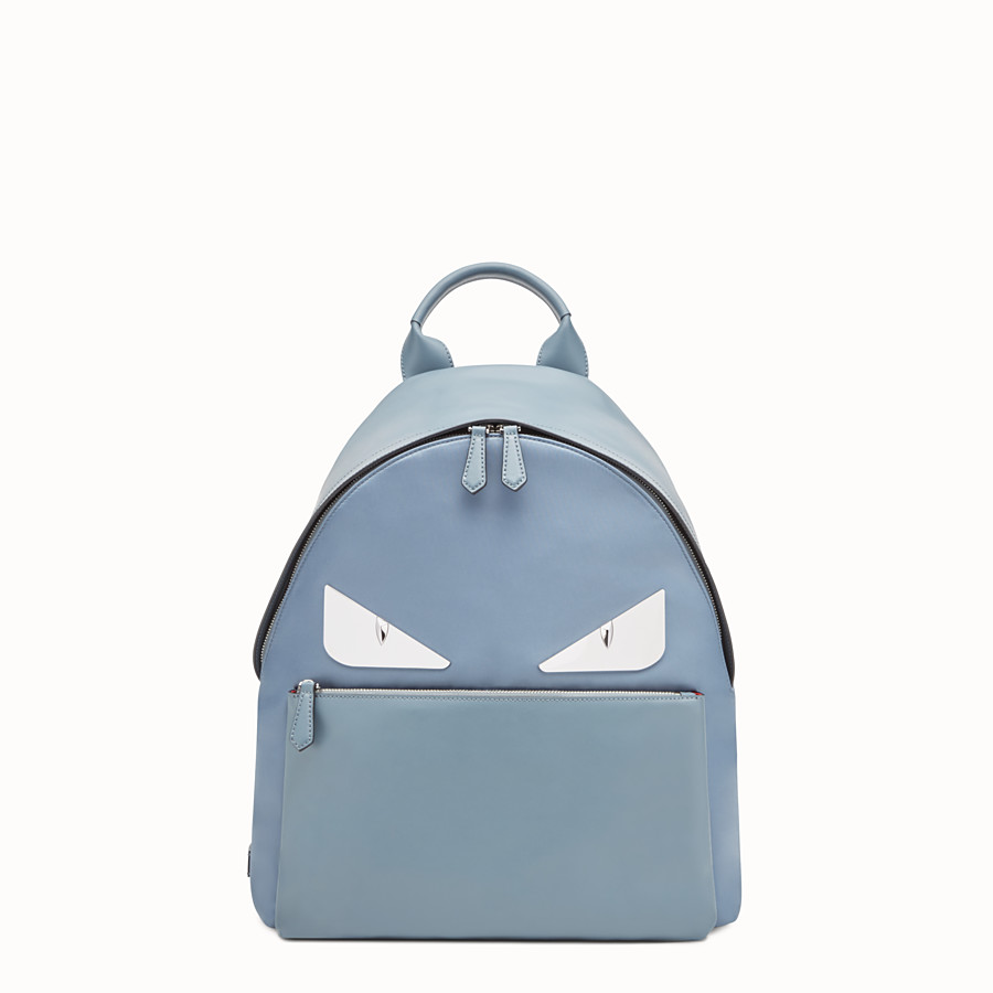 FENDI BACKPACK - Light blue nylon and leather backpack - view 1 detail