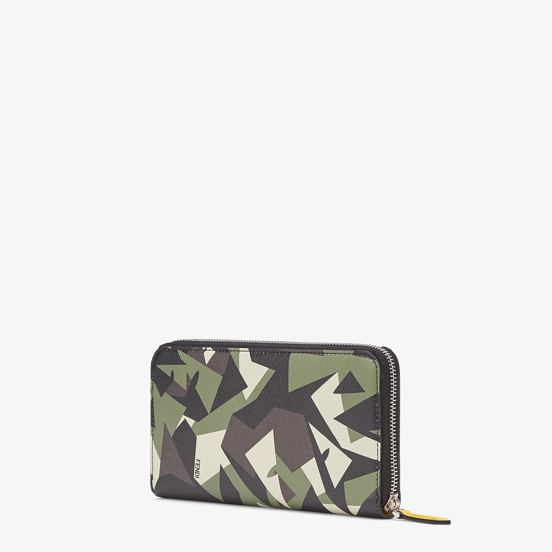 FENDI ZIP-AROUND - Green leather wallet - view 2 detail